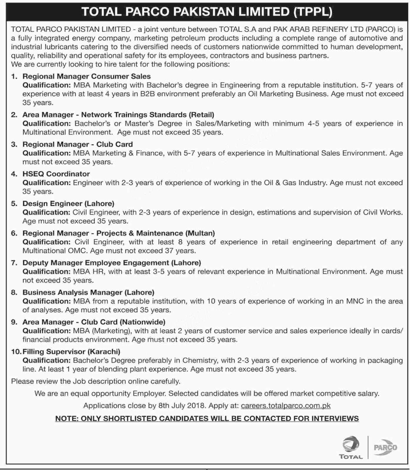 Jobs In Oil and Gas Company Total Parco Pakistan Limited July 2018