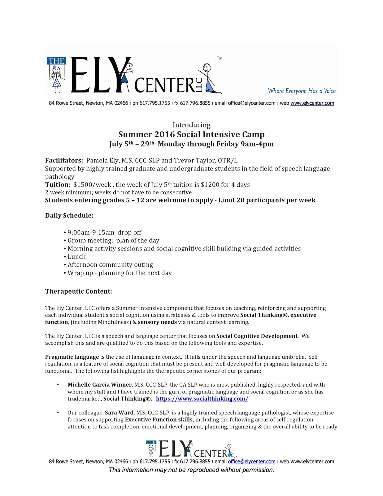 Social Intensive Summer Camps At Ely >> NESCA News & Notes: Social Intensive Summer Camps at The Ely Center in Newton: Registration Now Open
