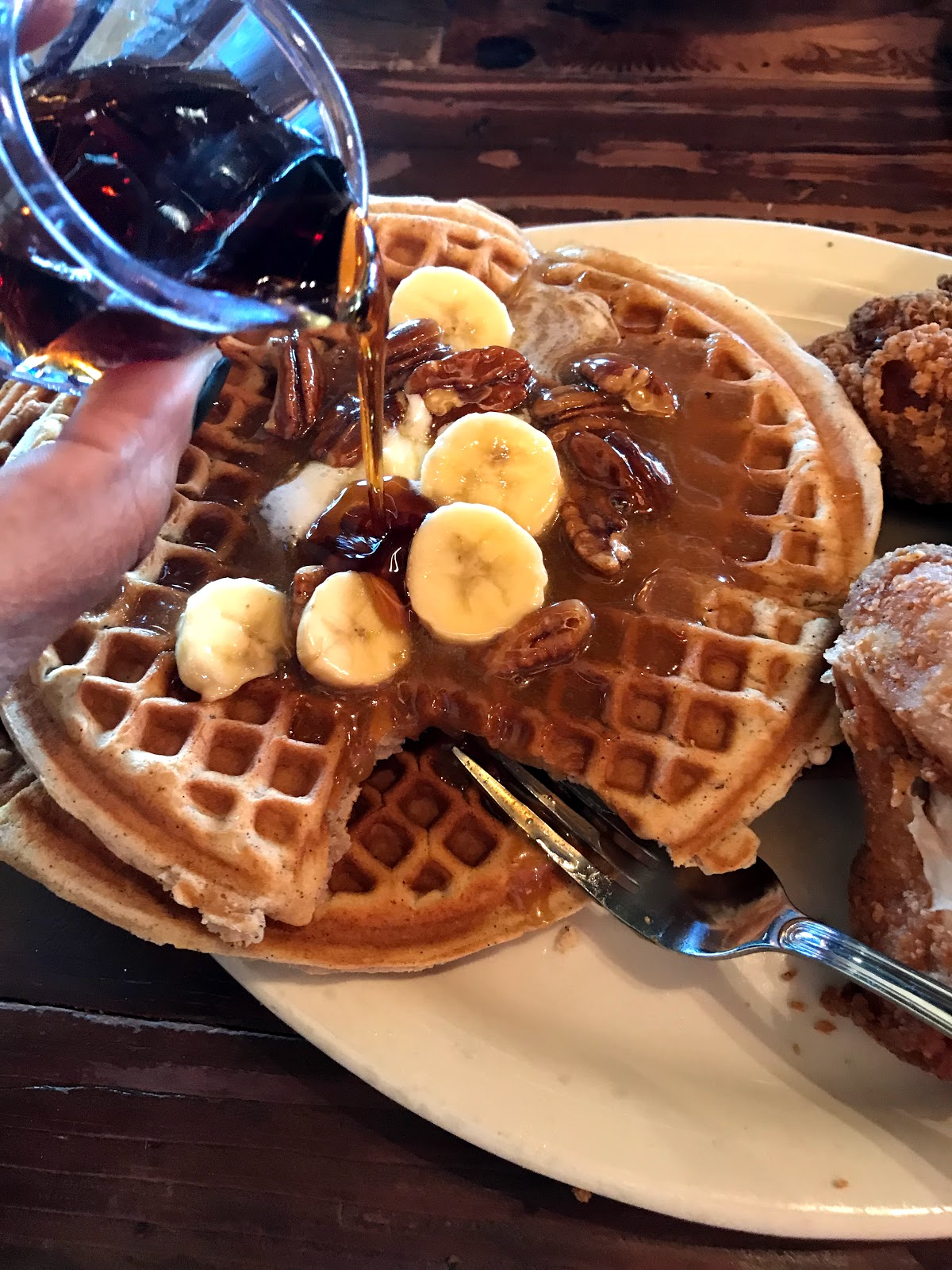 Image: Waffles and syrup at LoLo's Chicken and Waffles