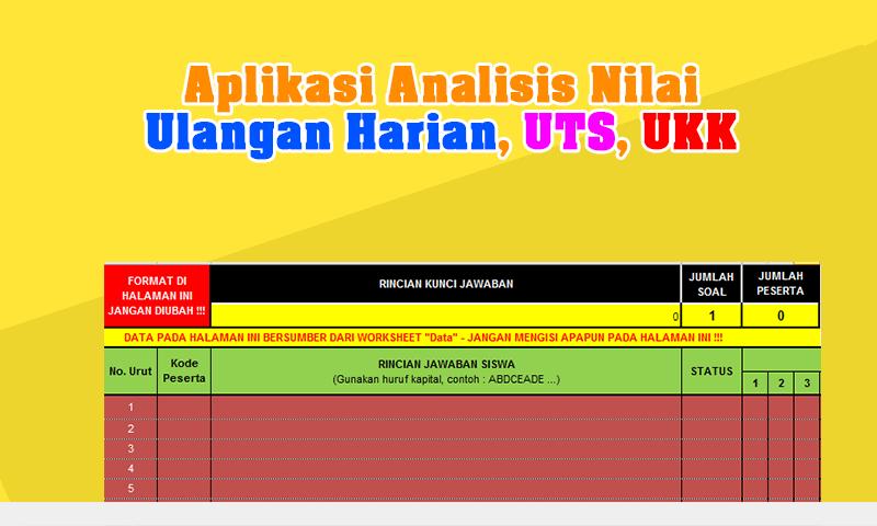 [Terbaru] Aplikasi Analisis Nilai Ulangan Harian (UH), UTS dan UKK SD + Program Remedial Otomatis Ms.Excel