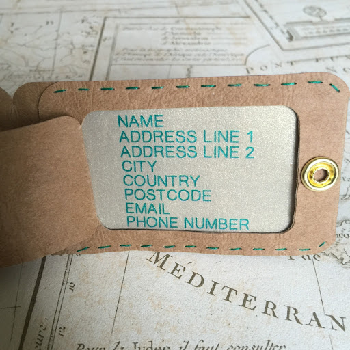 Contact details for DIY Luggage Tag Tutorial by Nadine Muir for Silhouette UK using faux leather paper and tartan