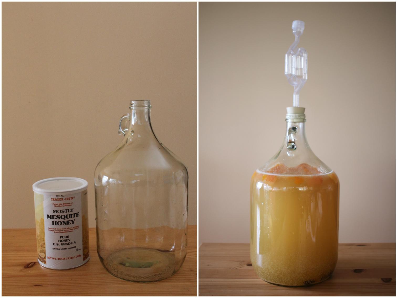 Mead fermenting in a 5 gallon jug