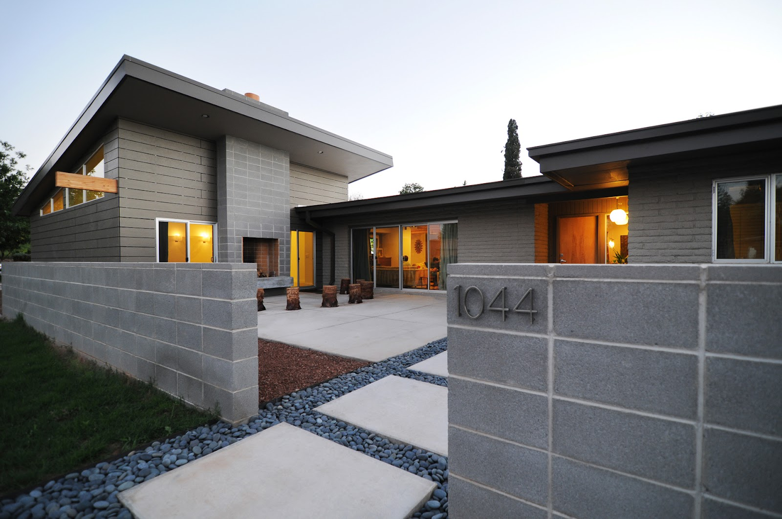 Local love modern manor for Cement block homes