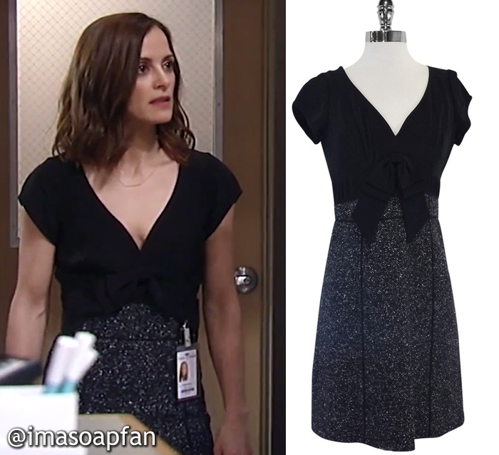 Hayden Barnes, Rebecca Budig, Black Silk and Grey Tweed Dress, Rebecca Taylor, GH, General Hospital