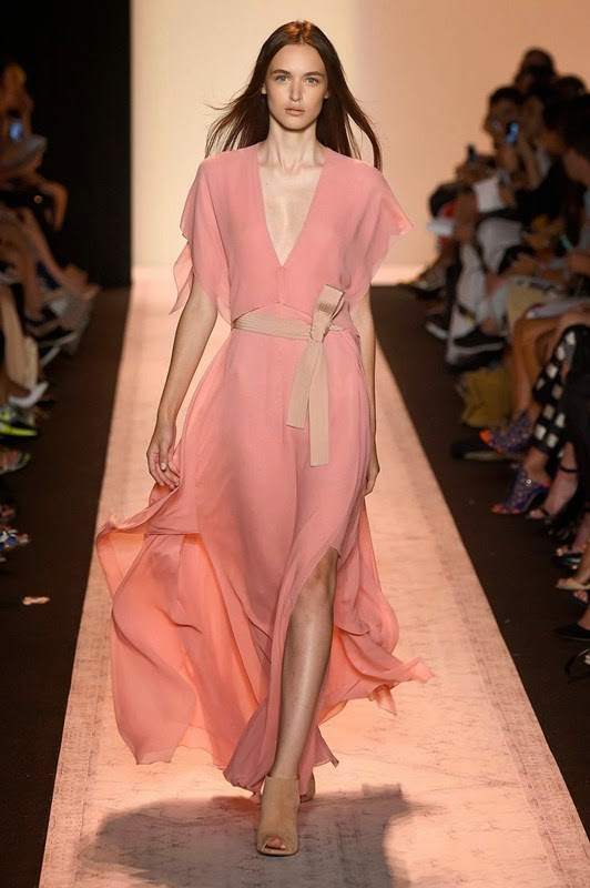 Stunning Dress in Pastel Pink Light Rose with Obi Belt, BCBG Max Azria Spring 2015 collection