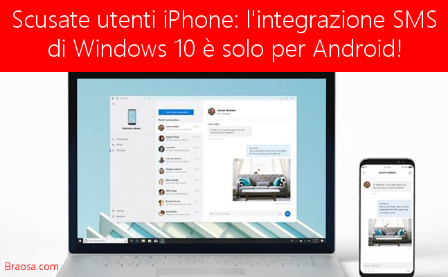 Gli SMS windows 10 non sono per iPhone ma solo per Android