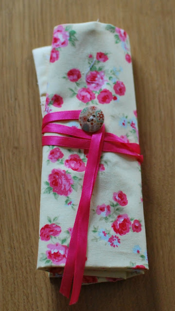 crochet hook roll in flower print fabric
