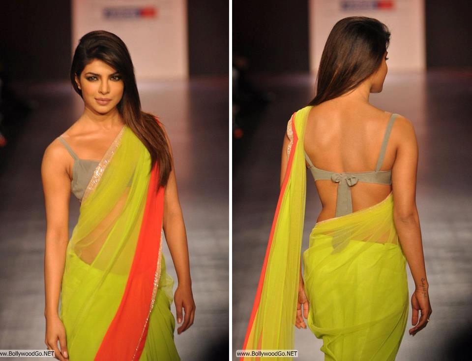 Priyanka Chopra in yellow saree, Priyanka Chopra sexy back in saree, Priyanka Chopra hot back in saree, Priyanka Chopra saree pictures