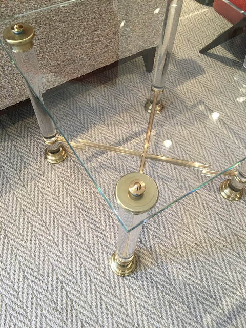table lucite gold glass