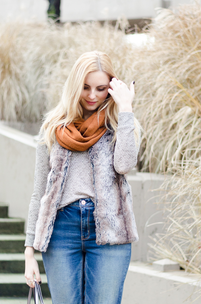 How to Wear a Faux Fur Vest Stylishly