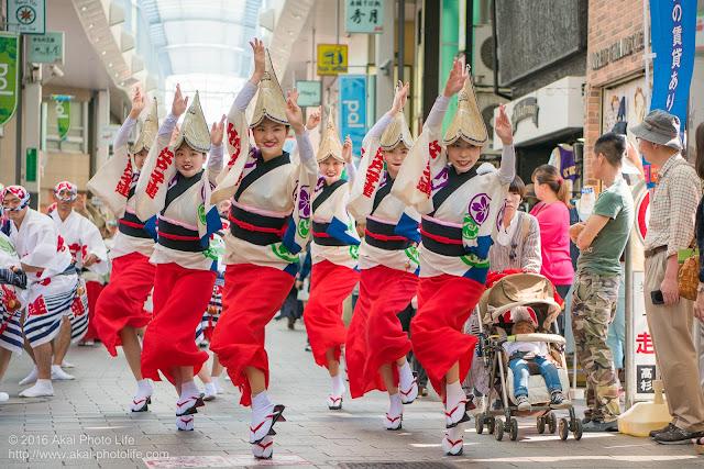 高円寺パル商店街、江戸っ子連の流し踊り、女踊りの写真 1
