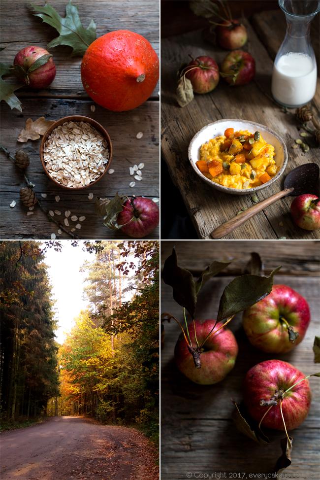 jesienna owsianka dyniowa z prażonymi jabłkami i pestkami dyni