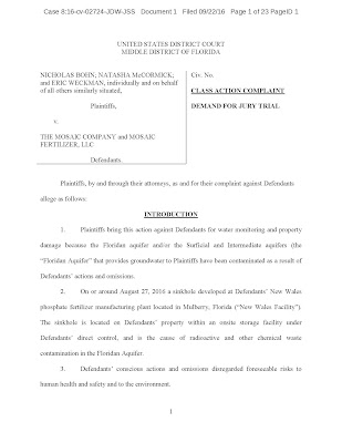 Mosaic Lawsuit Polk County FL  - Complete Text of the Complaint -  Copy of the Complaint