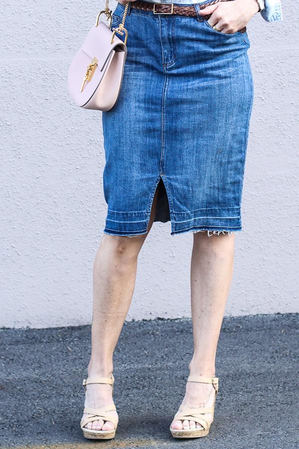 tan wedge sandals jean pencil skirt parlor girl