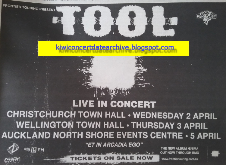 Kiwi Concert Date Archive: Tool