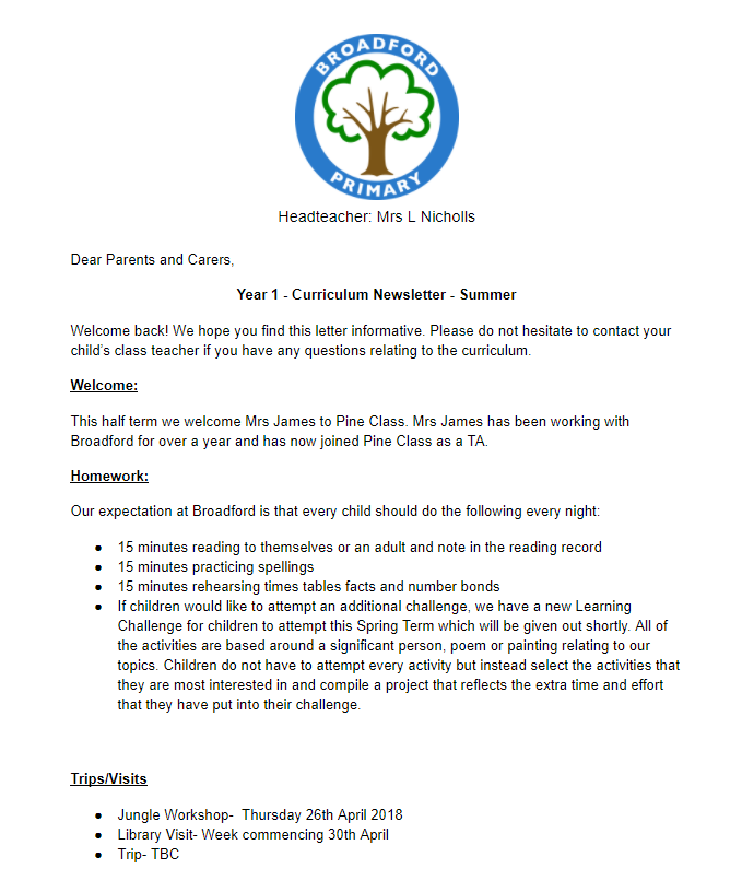 Broadford Year 1/2: Year One Newsletter