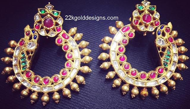 Peacock Design Round Earrings