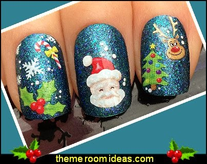 Nail art water decals transfers stickers christmas tree santa rudolph holly