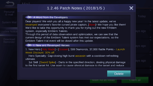 Mobile Legends Patch Notes 1.2.46