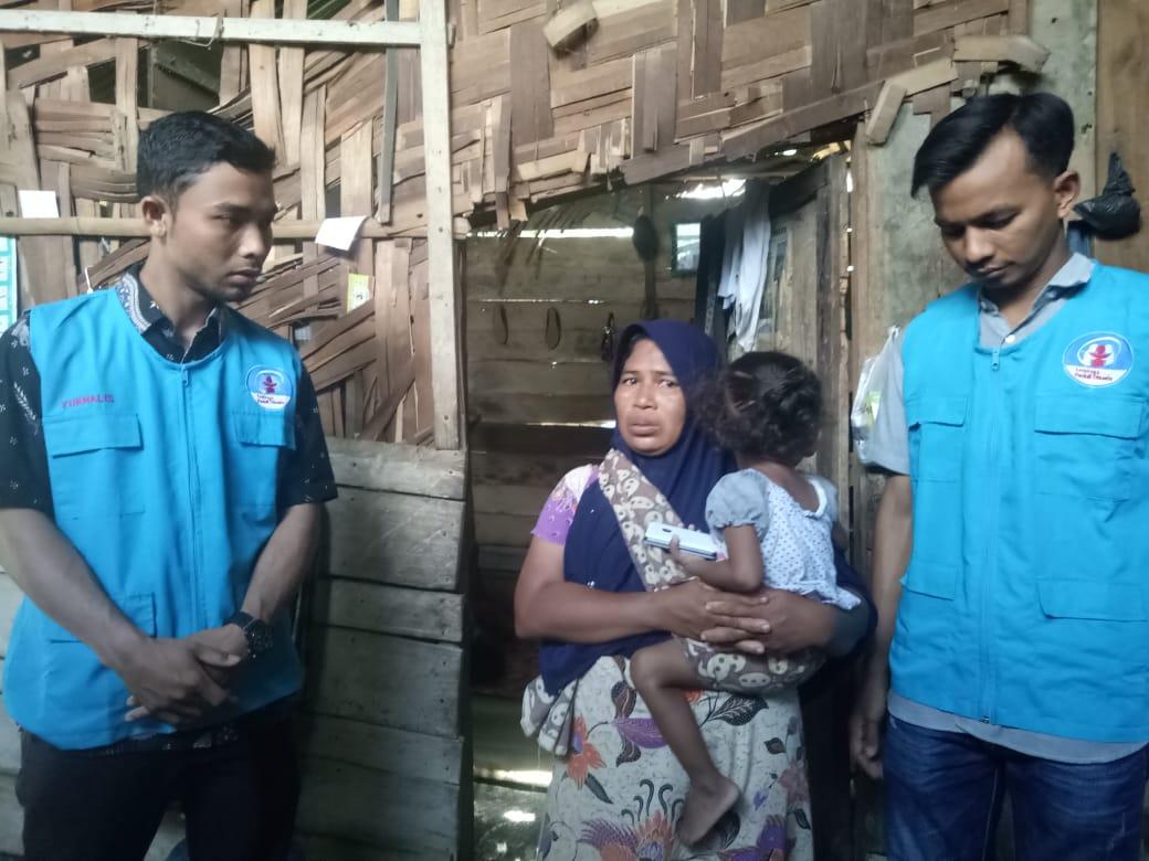 Lembaga Peduli Dhuafa Kunjungi Dhuafa yang menderita Gizi Buruk, Tanah Luas Aceh Utara