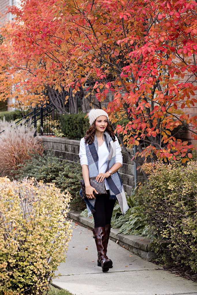 Blogger Outfit Fall Uniform Pom Pom Hat Blanket Scarf Cognac Riding Boots Louis Vuitton Poche Toilette 26