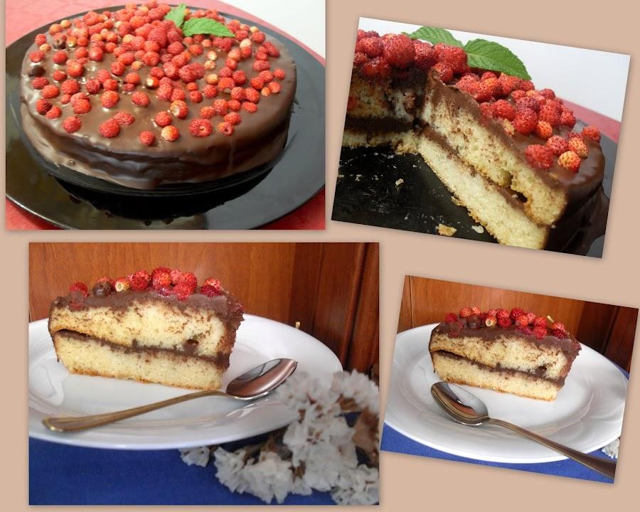 Trozo y pastel con chocolate y fresitas