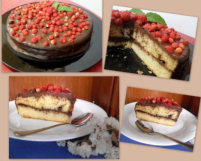 Pastel con chocolate y fresitas sin lactosa