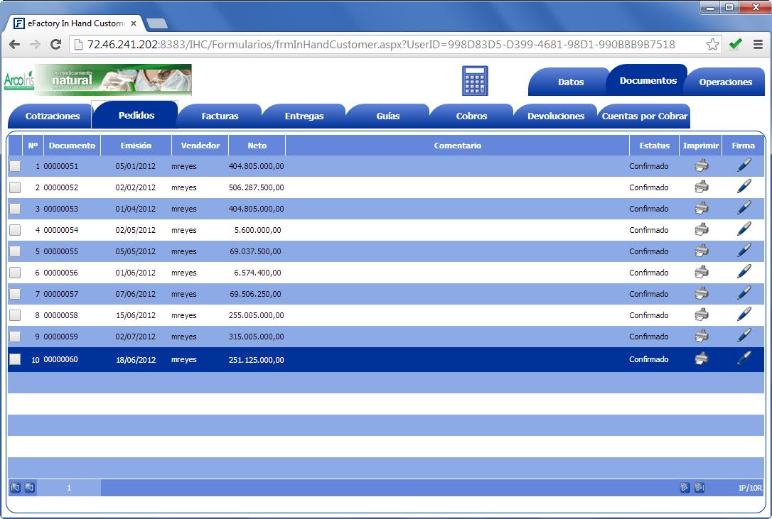 In Hand Customer: Lista de pedidos del cliente - Productos Web de eFactory para Móviles y Tabletas