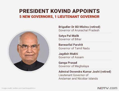 5 New Governors Appointed by President Kovind