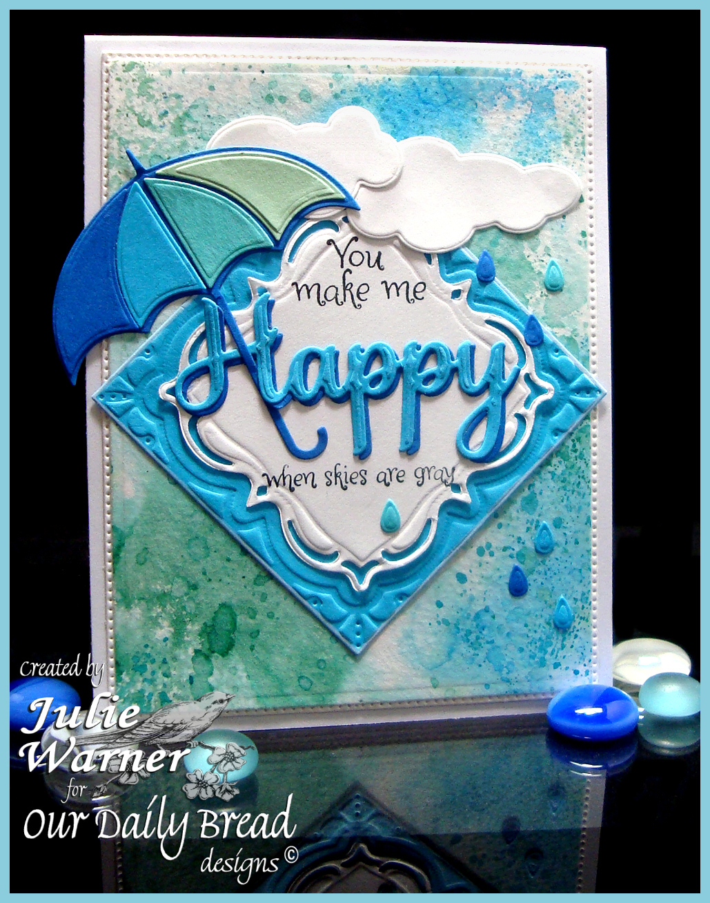 Stamps - Our Daily Bread Designs April Showers, ODBD Custom Umbrellas Die, ODBD Custom Cloud & Raindrops Dies, ODBD Custom Layered Lacey Squares Dies, ODBD Custom Flourished Star Pattern Die, ODBD Custom Happy Birthday Die