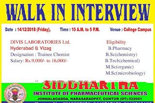 Walk in interview@Divis lab on 14 December at Hyderabad