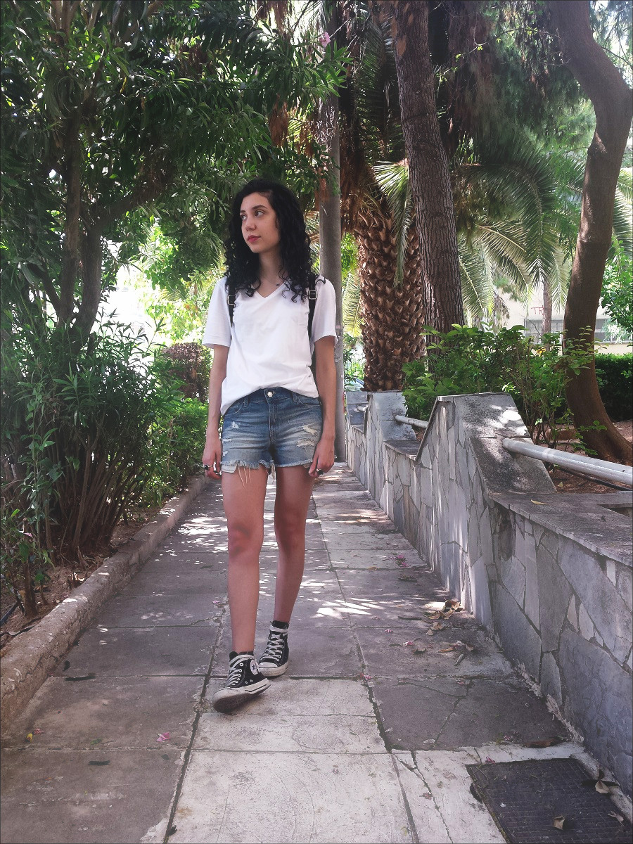 Cool Summer Outfit : A White Tee and Jean Shorts - www.theblushfulhippocrene.blogspot.com