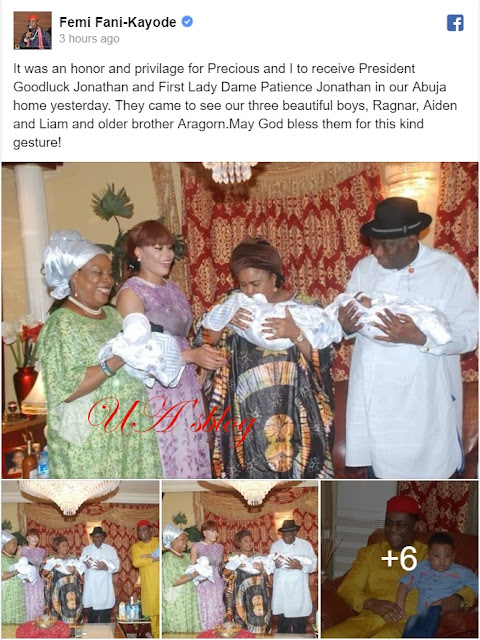 Ex-President Jonathan & Wife Visit Fani-Kayode's Triplets In Abuja (Photos)