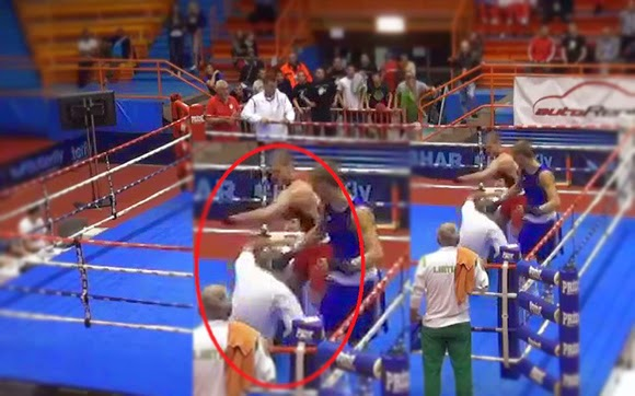 Croatian Boxer Loncar Blows Official Referee Knocked Out with a Hard Punch