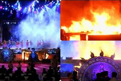A major fire burnt down the the stage of a cultural show organised to celebrate the Make in India week at the historic Girgaum Chowpatty, Marine Drive, in south Mumbai on Sunday evening.  A galaxy of dignitaries politics, business, bureaucracy and Bollwyood were present at the site of accident.