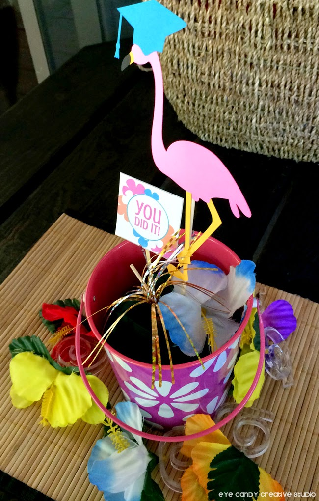 you did it, flamingo grad, hawaiian bucket, centerpiece for a luau, luau