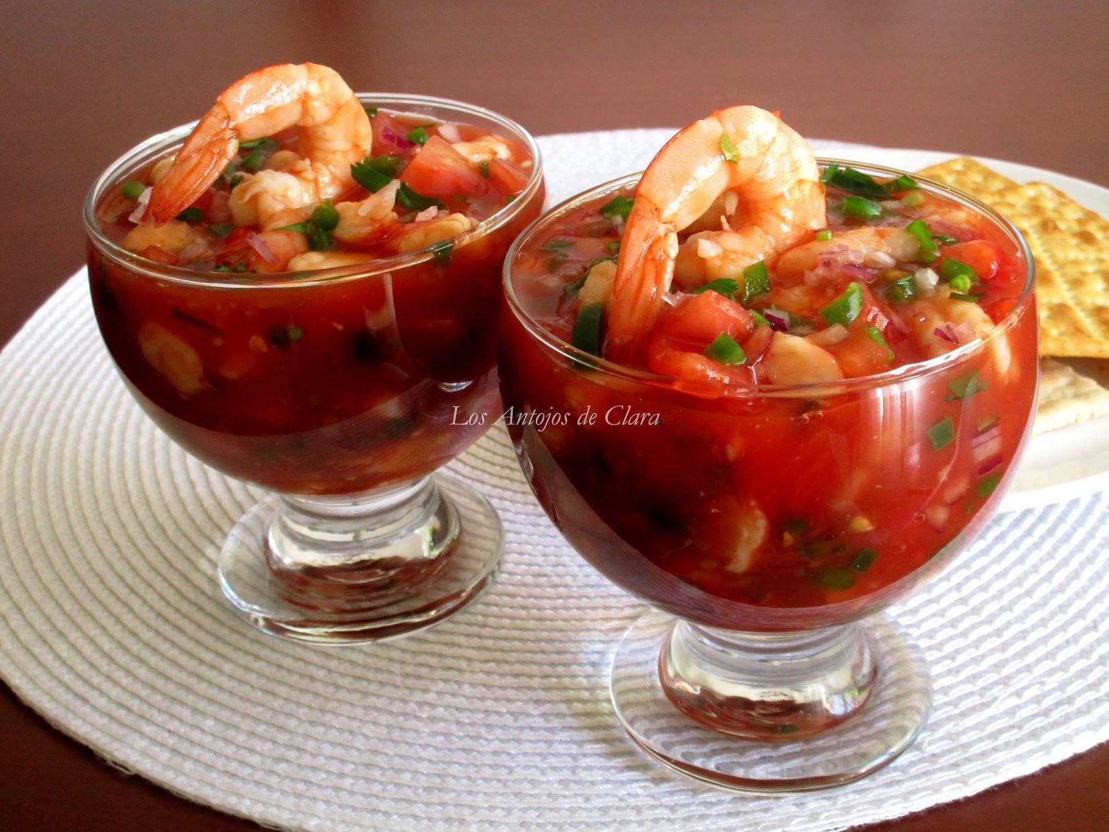 Los antojos de clara c ctel de langostinos for Coctel con zumo de tomate