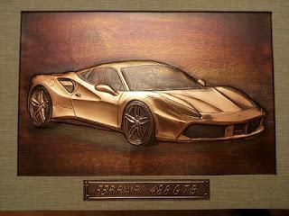 metaloplastie pe tabla de cupru, masina ferrary, masini, tablouri, arta manuala, ferrari 488 GTB,
