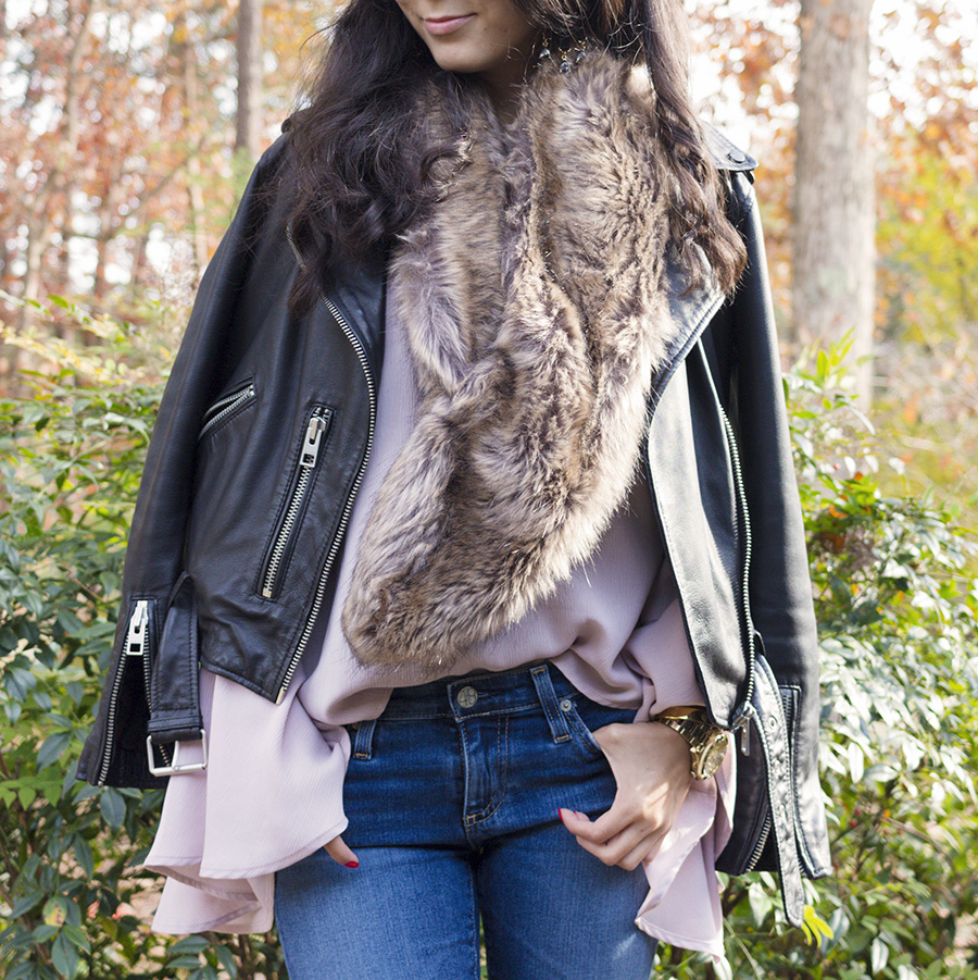 faux fur, leather jacket, statement earrings