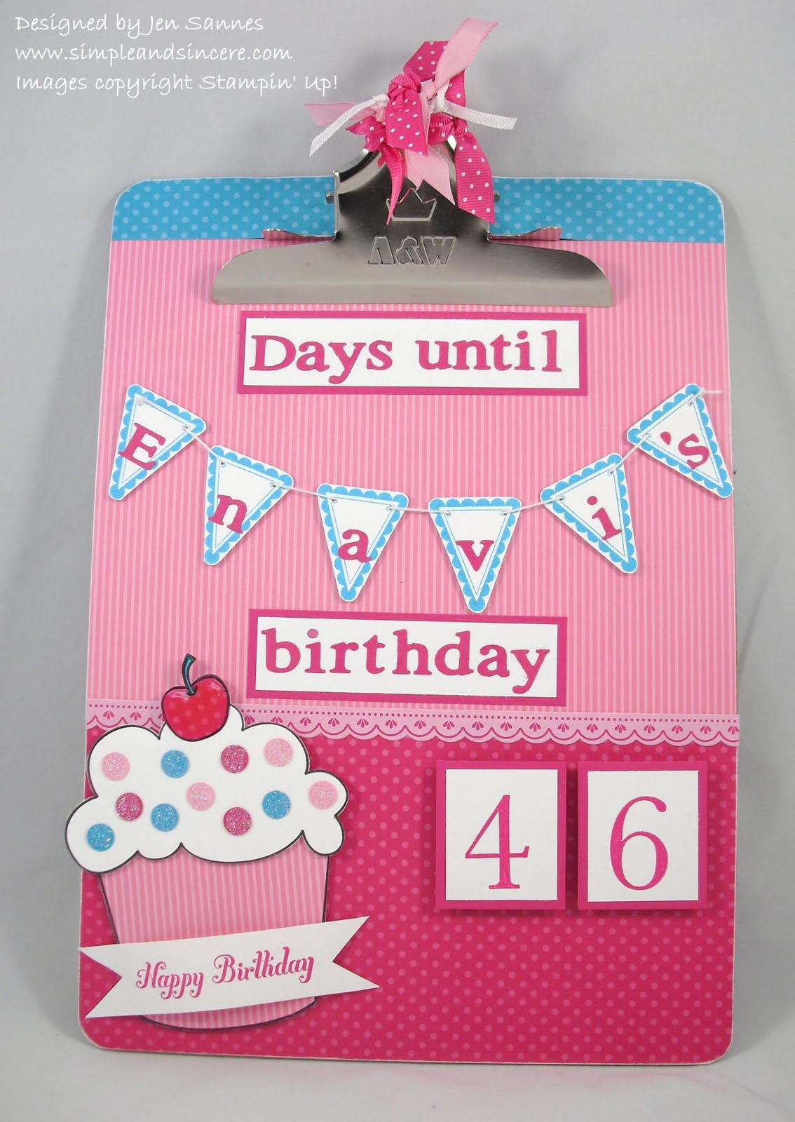 Simple Amp Sincere Birthday Countdown Clipboard