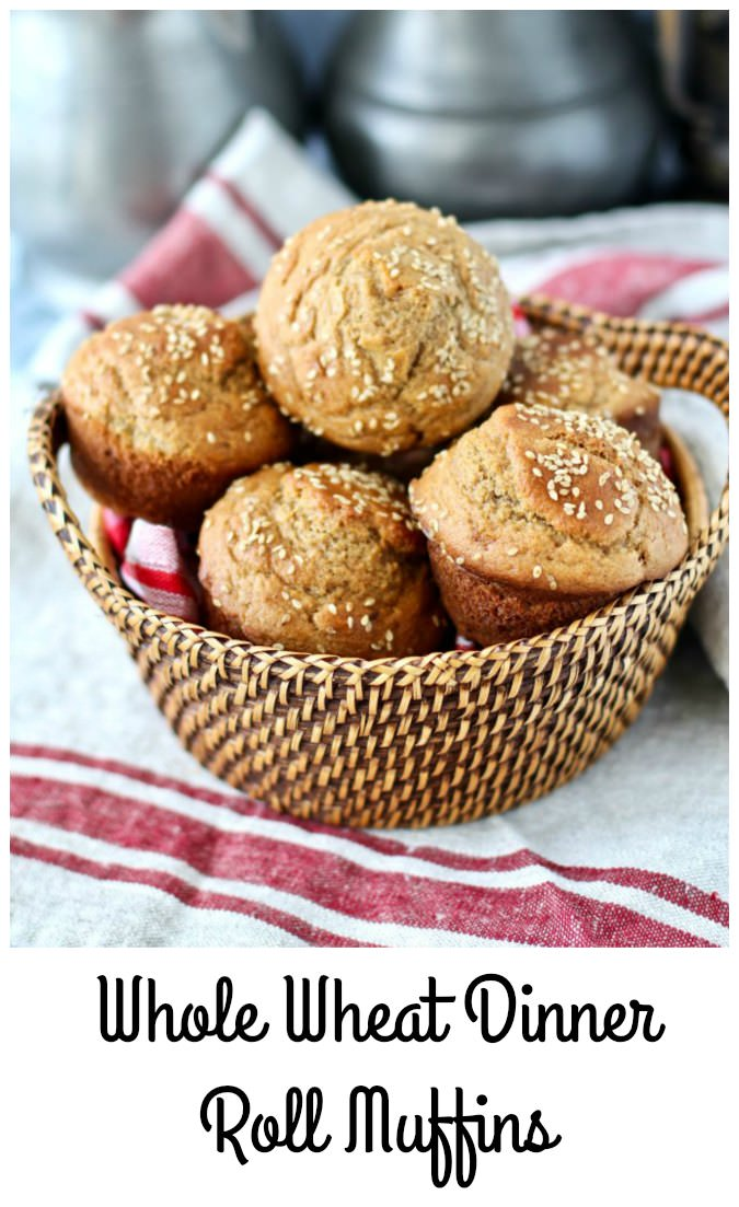 Whole Wheat Dinner Roll Muffins with sesame seeds #wholewheat #muffins