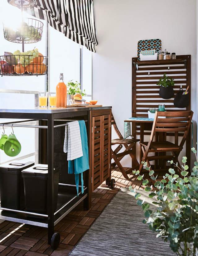 balcón con cocina