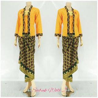 Rok Blus KebayaBatik Sabuk Wolo02 Kuning