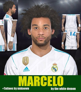 PES 2018 Faces & Tattoo Marcelo by Jarray & The White Demon