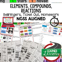 Elements, Compounds, Reactions Bellringers, Physical Science Warm-Ups, Science Warm-Ups, Science Inquiry Warm-Ups, Physical Science Bellwork, Science Bellwork, NGSS Bellwork, Science Bellringers