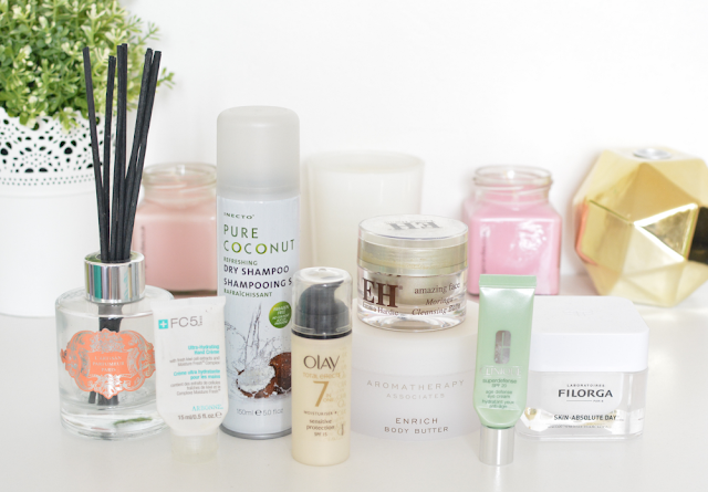 Empties, October, Emma Hardie moringa cleansing balm, Clinique superdefense eye cream, Aromatherapy associates enrich body butter