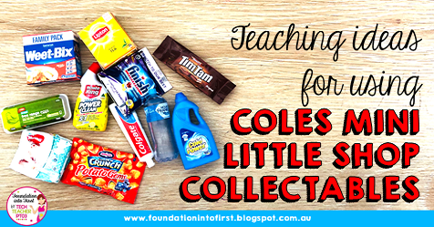 Teaching ideas for using Coles Mini Little Shop Collectables. Maths rotations, English language arts, HASS, Geography and History in early primary.