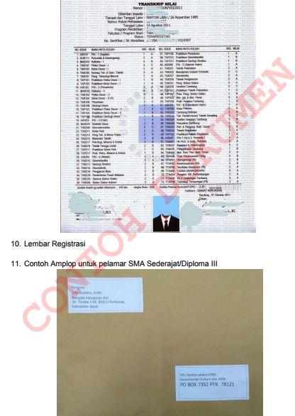 gambar pola dokumen amplop pendaftaran CPNS 2017