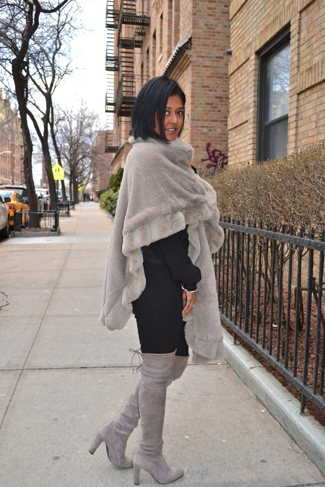 Grey over the knee boots Astoria in heels