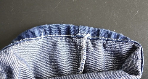 Hem of denim jeans leg